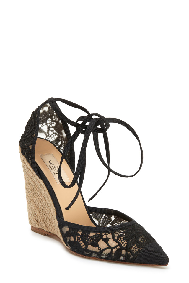 Black Lace Ankle Tie Pointy Espadrilles
