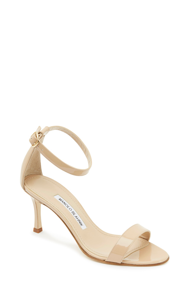 Chaos Nude Patent Leather Ankle Strap Sandals