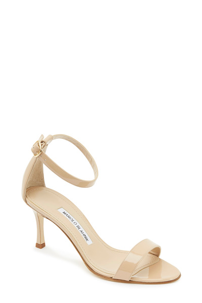 Manolo Blahnik - Chaos Nude Patent Leather Ankle Strap Sandals