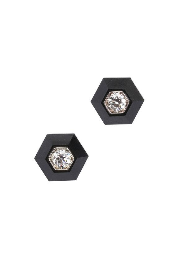 Fred Leighton Black Jade & Diamond Studs
