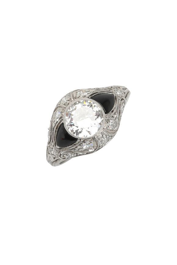 Fred Leighton Art Deco Diamond & Onyx Ring