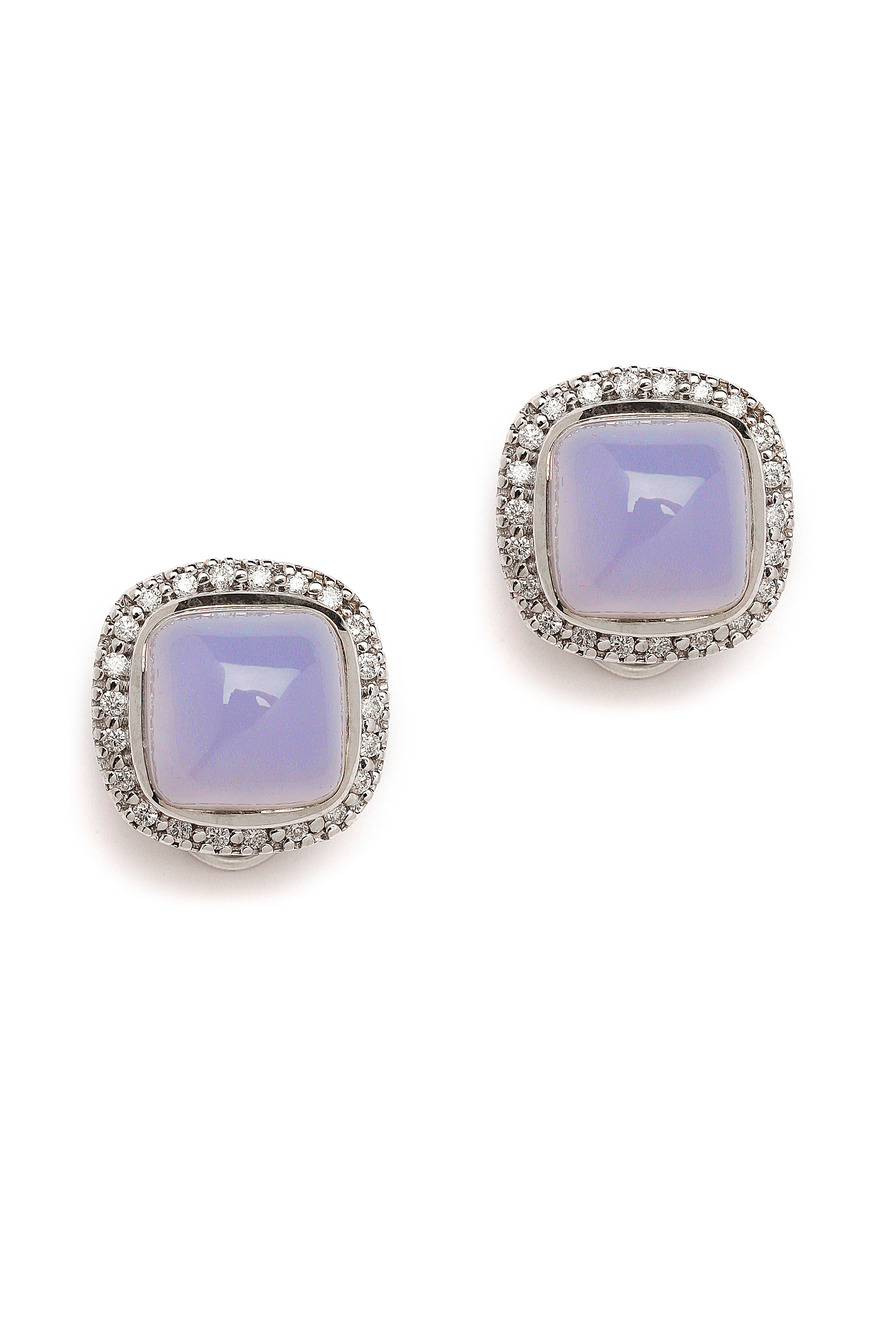 Blue Chalcedony Cabochons and Diamonds Earrings