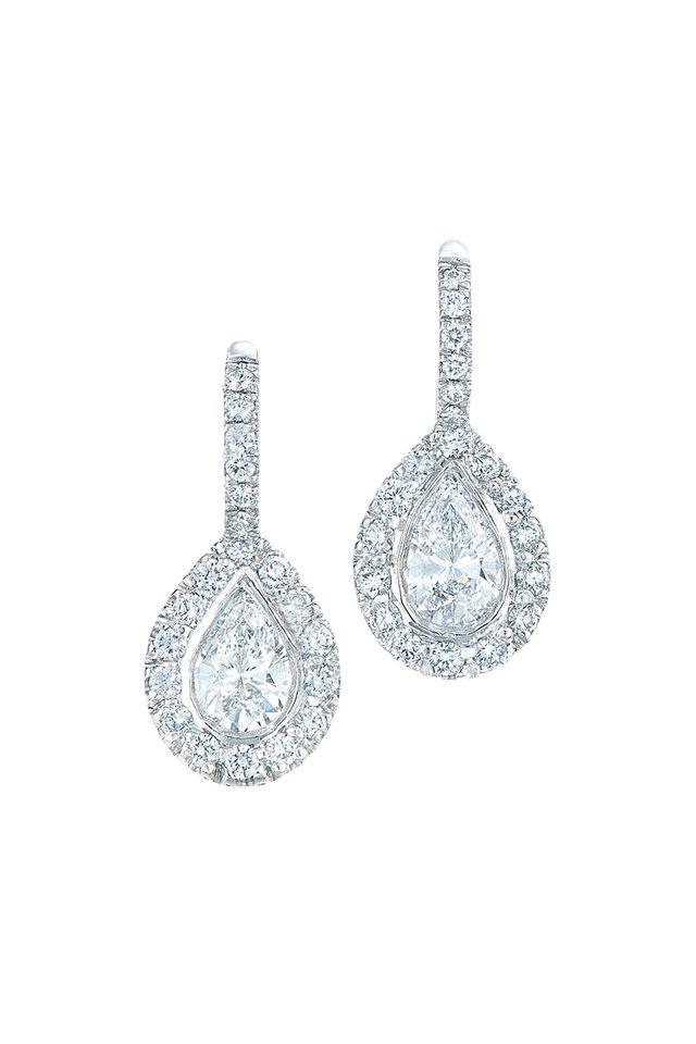 18K White Gold & Platinum Diamond Earrings