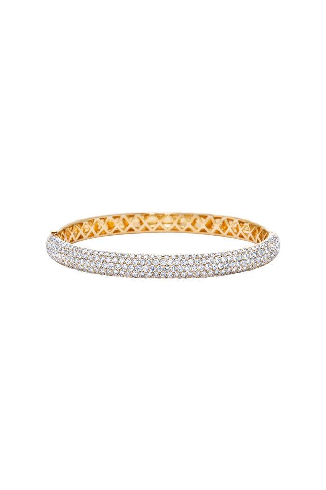 18K Yellow Gold Diamond Stackable Bracelet