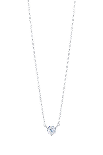 Kwiat - Platinum Solitaire Diamond Pendant Necklace