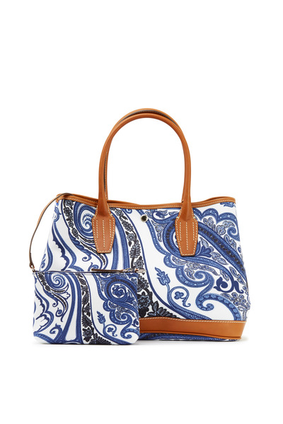 Etro - Garden Blue Paisley Canvas & Leather Trim Satchel