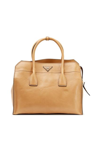 Prada - Naturl Leather Soft Satchel
