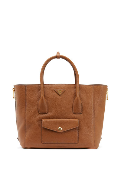 Prada - Brandy Vitello Leather Tote