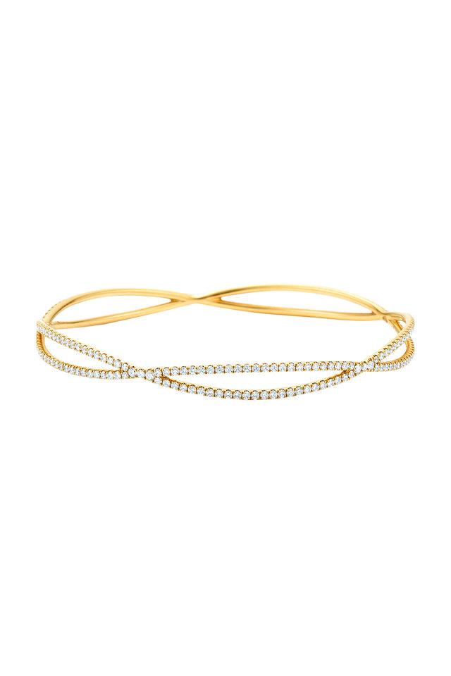 18K Yellow Gold Diamond Fidelity Bangle