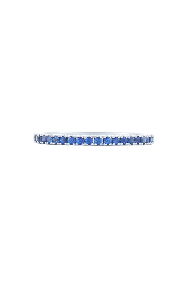18K White Gold Sapphire Stackable Band