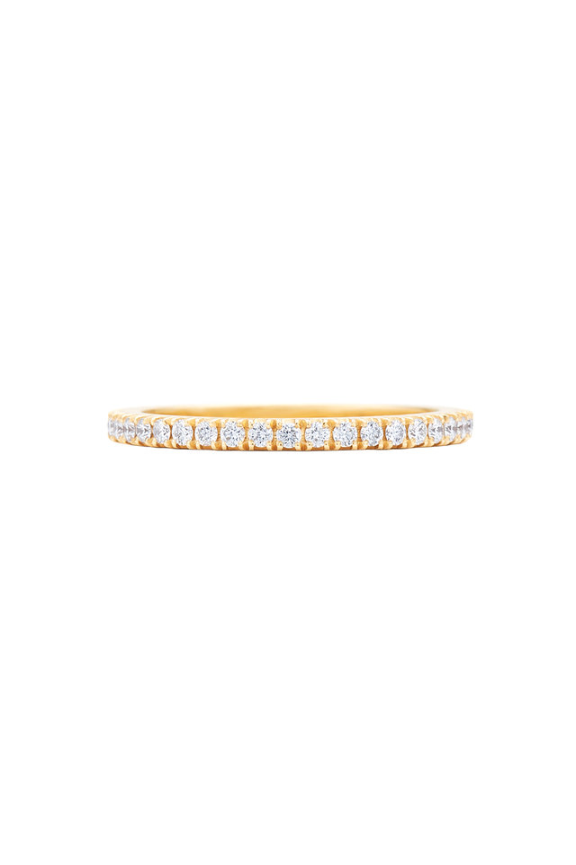 18K Yellow Gold Diamond Stackable Band
