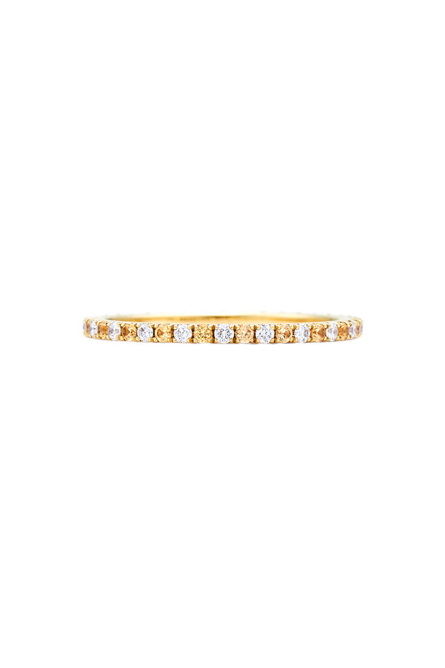 18K Gold Alternating Diamond & Sapphire Band