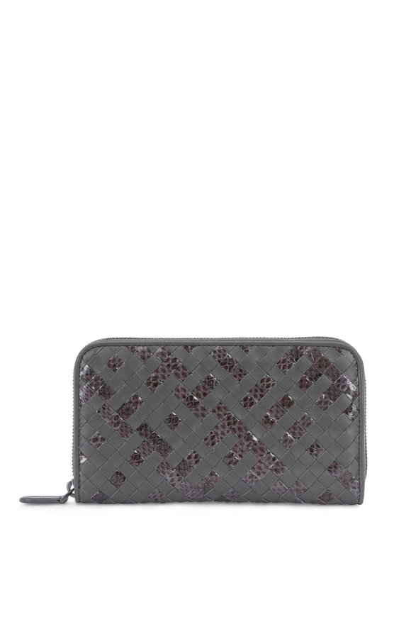 Bottega Veneta Gray Intrecciato Snakeskin & Leather Zip Wallet