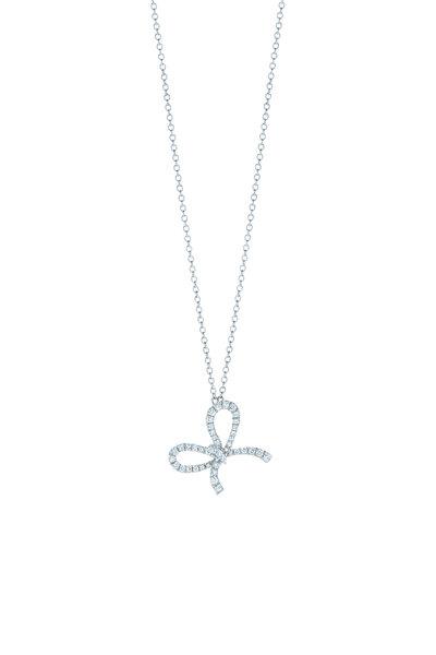 Kwiat - 18K White Gold Diamond Bow Pendant Necklace