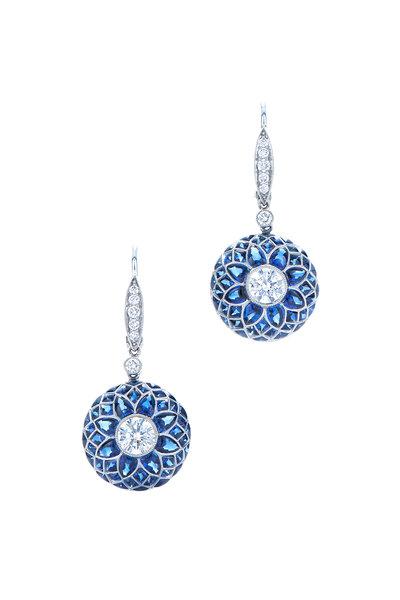 Kwiat - 18K White Gold Diamond & Sapphire Bombe Earrings