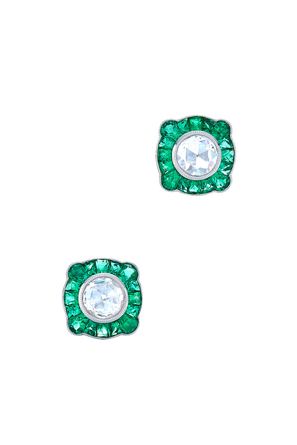 Kwiat 18K White Gold Diamond & Emerald Studs