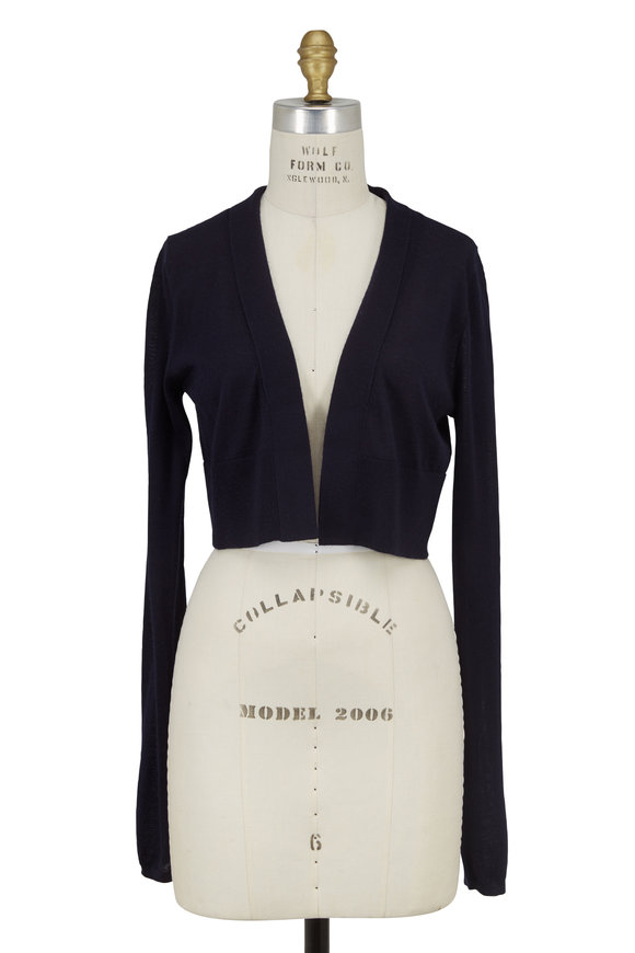 Derek Lam Navy Blue Cashmere & Silk Cropped Knit Cardigan