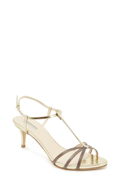 Giorgio Armani - Brown Karung & Metallic T-Strap Sandals