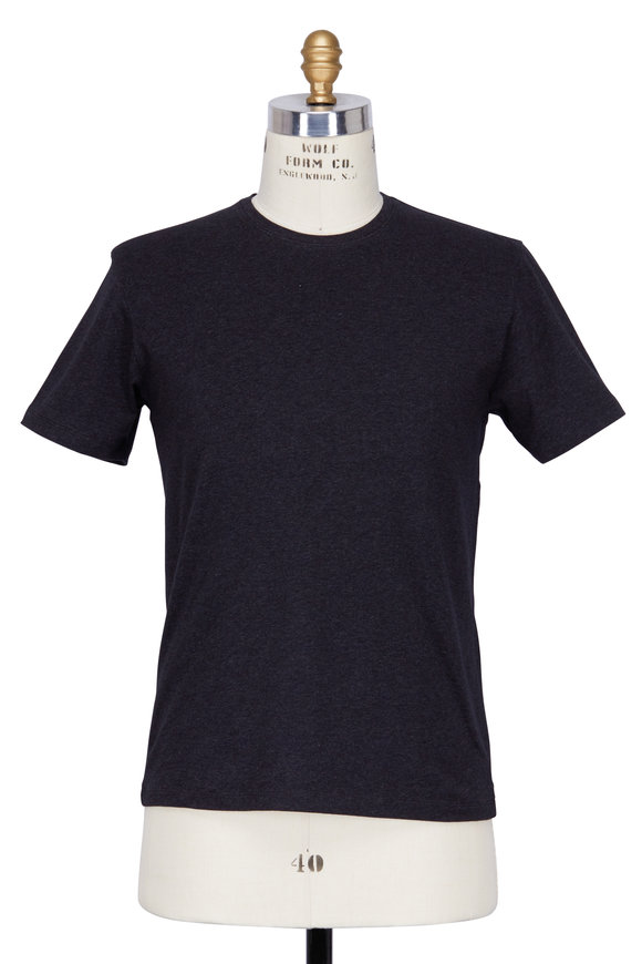 PYA Patrick Assaraf Charcoal Gray Crewneck T-Shirt
