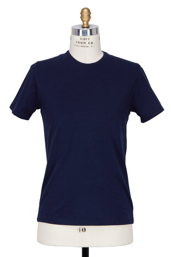 PYA Patrick Assaraf Navy Blue Crewneck T-Shirt