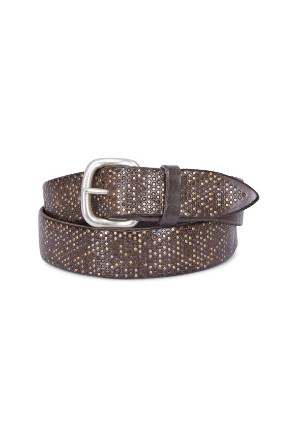 Orciani  Brown Hand Studded Belt