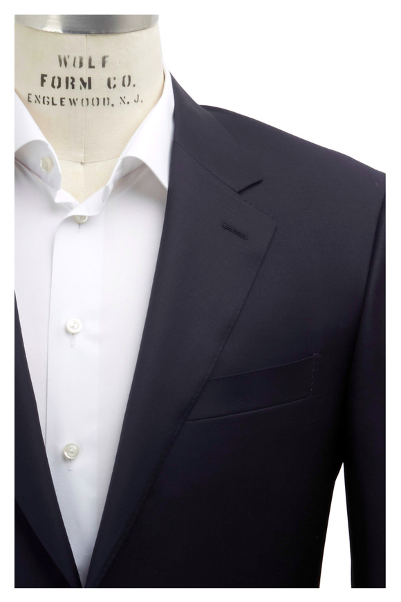 Canali Solid Basic Navy Blue Wool Suit