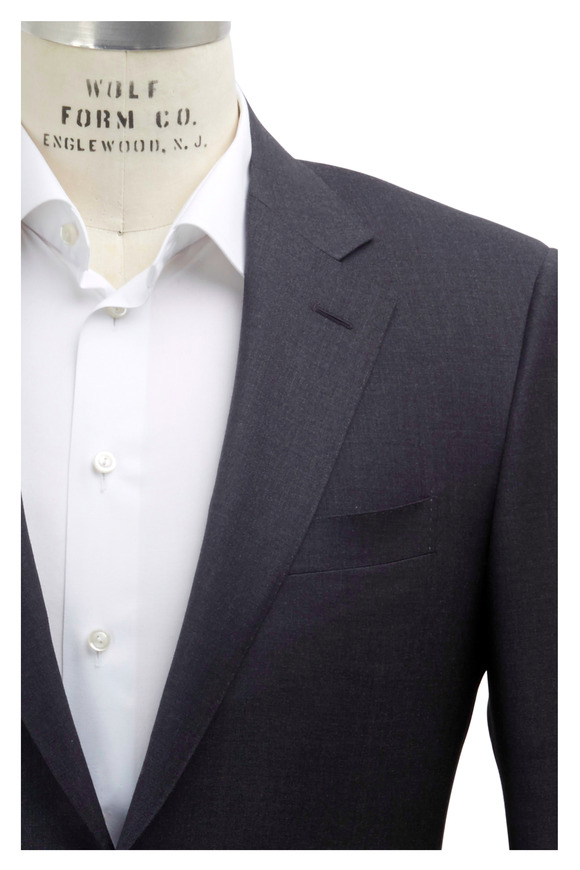 Canali Solid Basic Gray Wool Suit