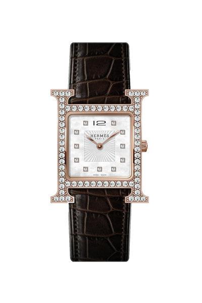 Hermès - Heure H Rose Gold Diamond Watch