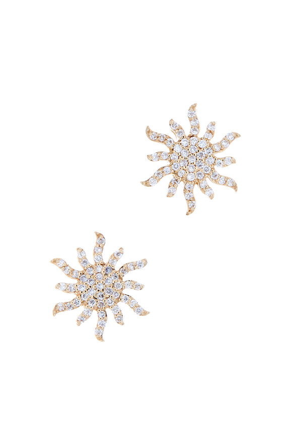 Emily & Ashley 18K Yellow Gold Diamond Sunburst Studs