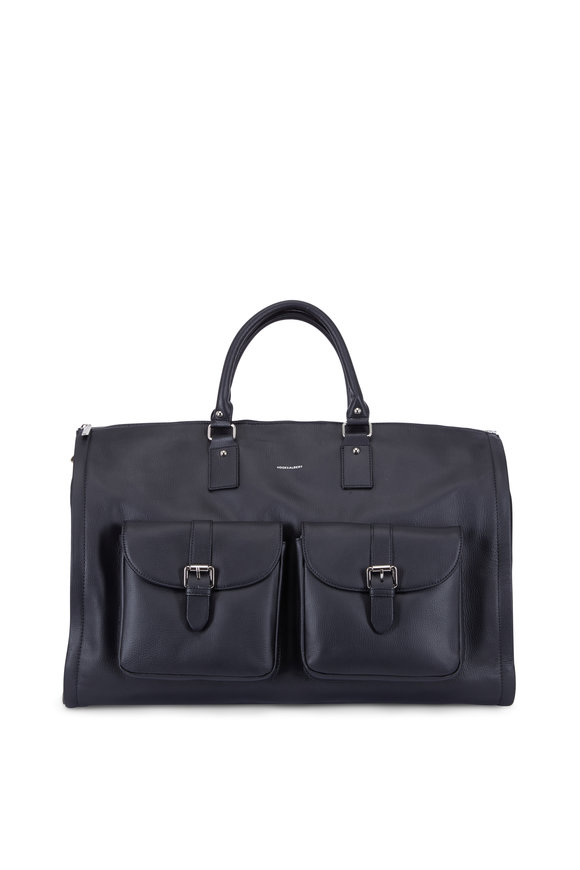 Hook + Albert Black Leather Garment Weekender Bag