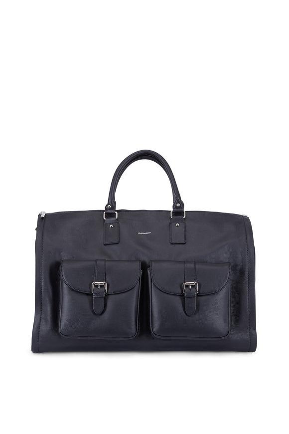 Hook + Albert Black Leather Garment Weekender Bag