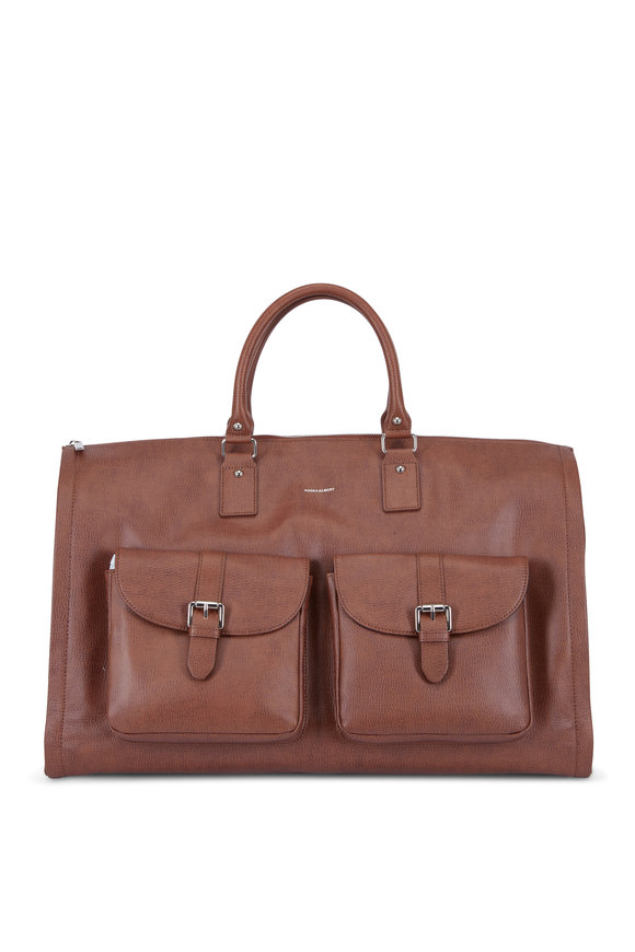 Hook + Albert Brown Leather Garment Weekender Bag