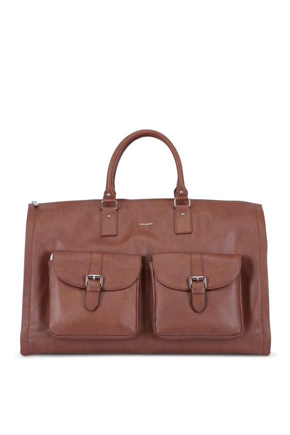 Hook + Albert Brown Leather Garment Weekender Bag