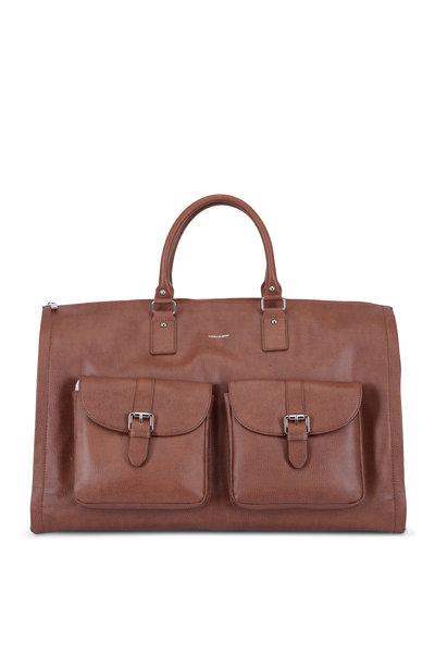 Hook + Albert - Brown Leather Garment Weekender Bag