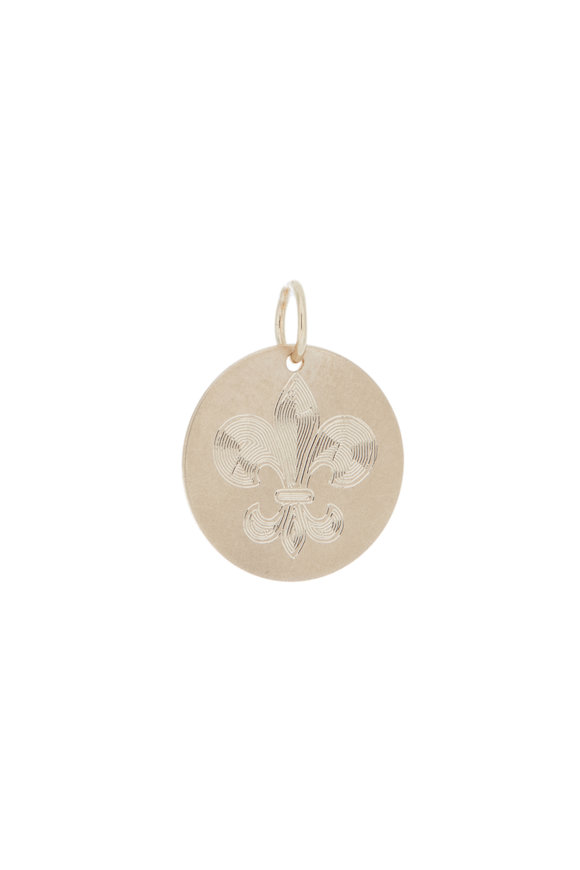 Emily & Ashley Yellow Gold Fleur De Lis Pendant