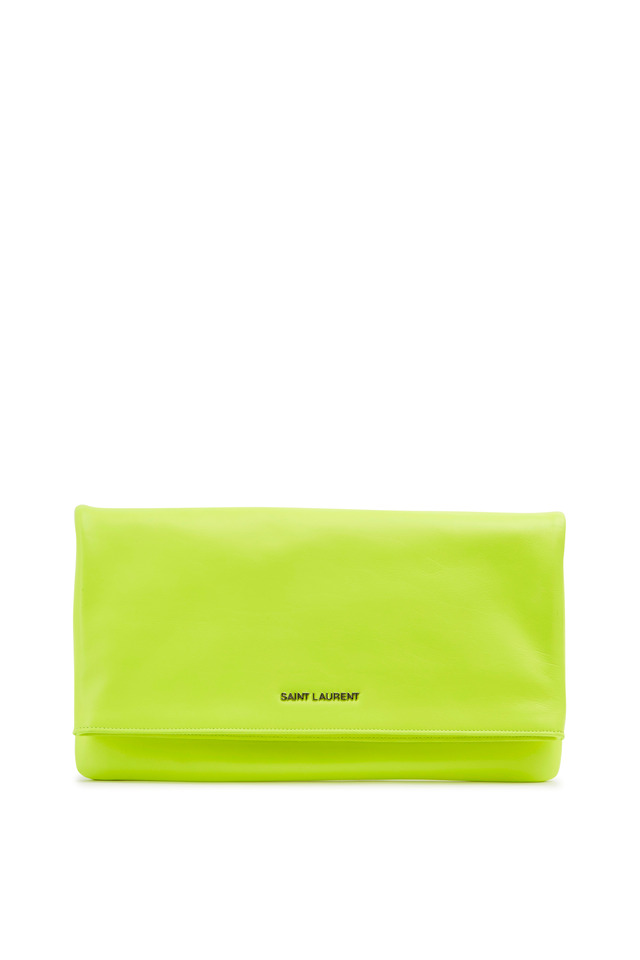 Letters Neon Yellow Leather Foldover Clutch