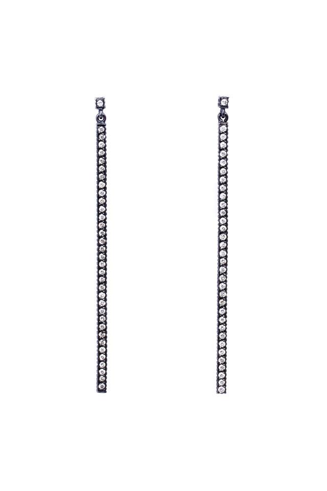 Lilah Sterling Silver Pavé-Set Diamond Earrings
