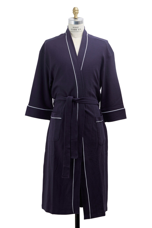 Majestic Navy Blue Waffle Cotton Robe