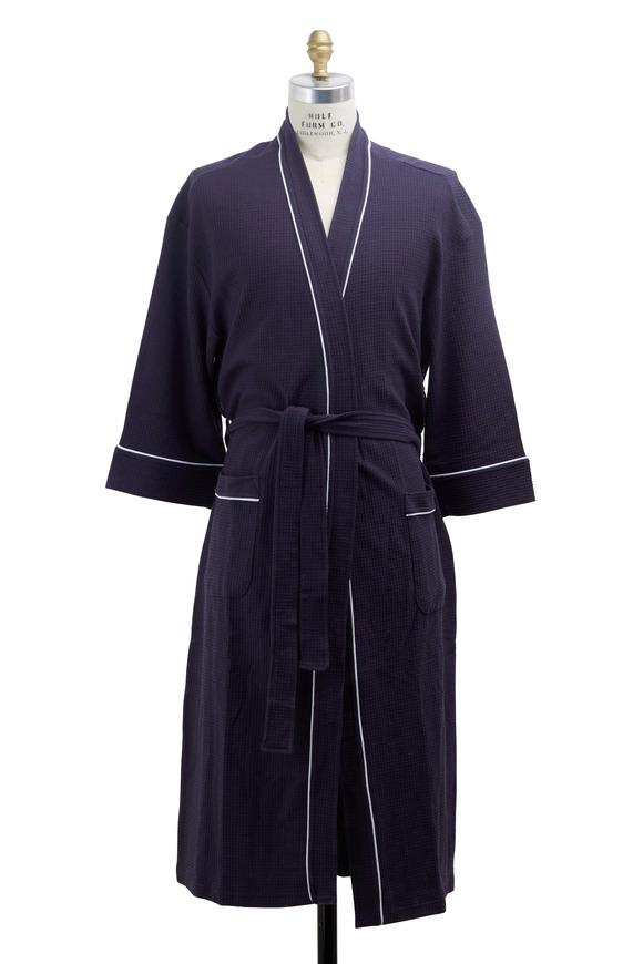 Majestic Navy Blue Waffle Cotton Robe