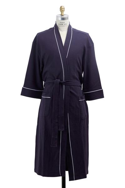 Majestic - Navy Blue Waffle Cotton Robe