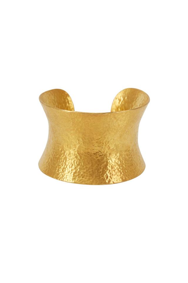 Gold Plate Large Corset Cuff Bracelet