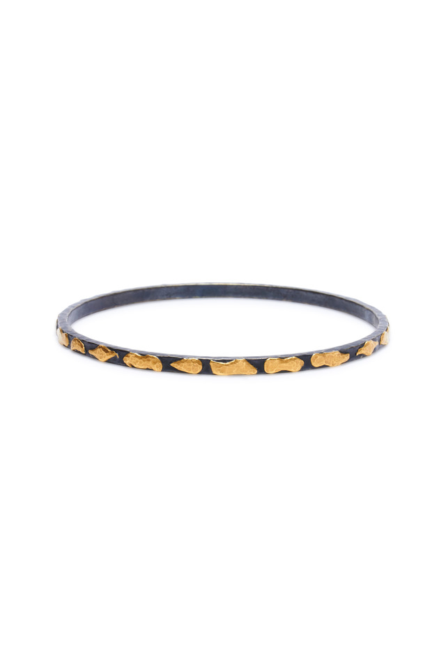 Libra Mica Oxidized Gold & Silver Bangle