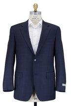 Canali - Navy Blue Windowpane Wool Suit