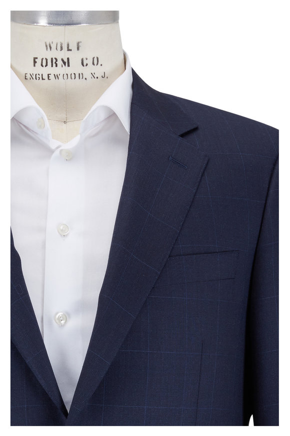 Canali Navy Blue Windowpane Wool Suit