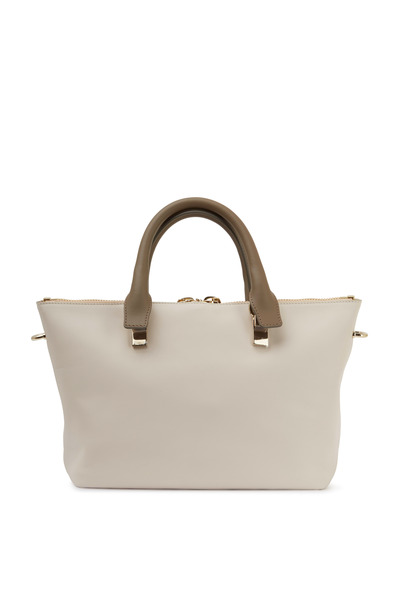 Chloé - Baylee White & Tan Leather Small Zip Tote