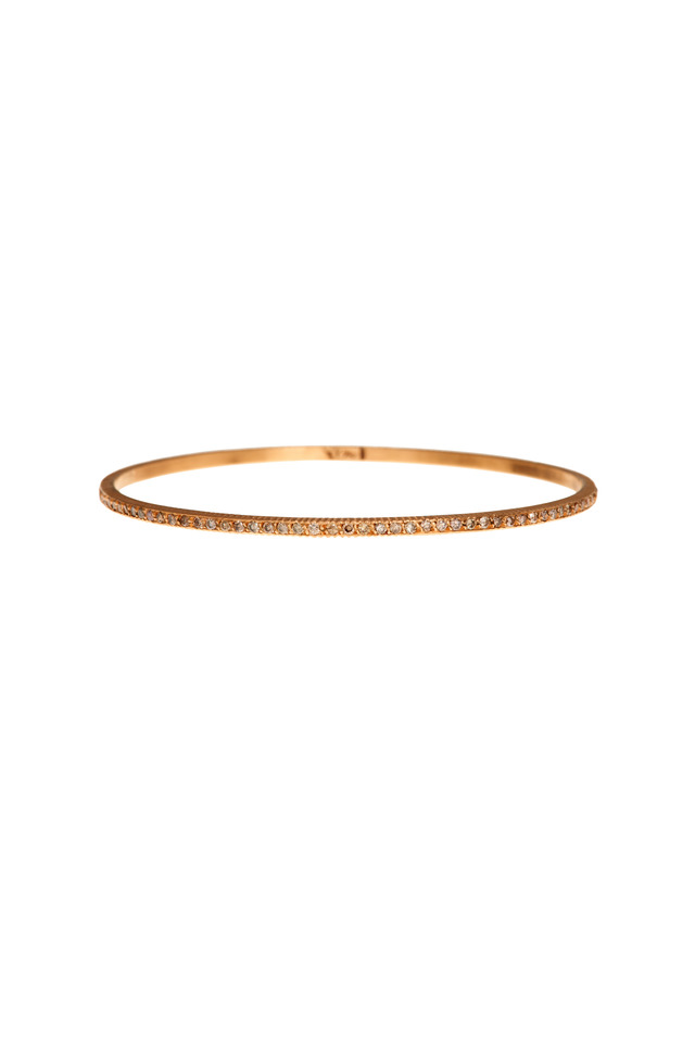 Rose Gold Pavé-Set Champagne Diamond Bangle