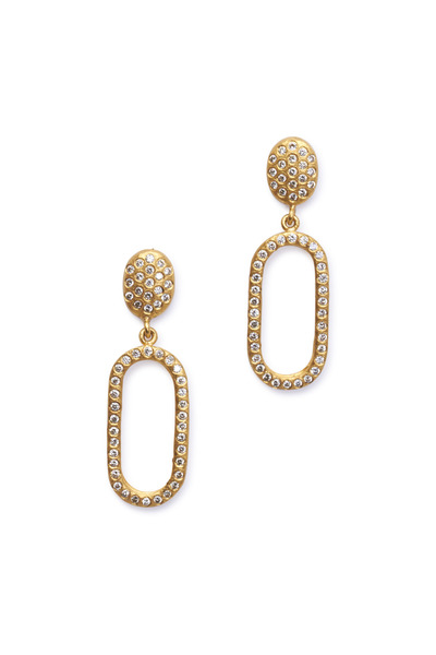 Yossi Harari - Maya Yellow Gold Pavé Diamond Oval Earrings