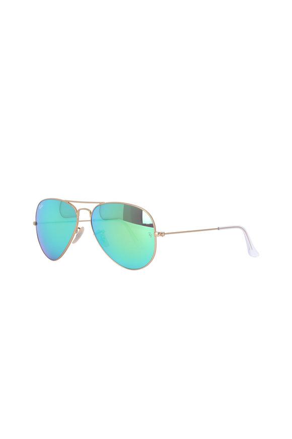 Ray Ban Crystal Green Mirror Aviator Sunglasses