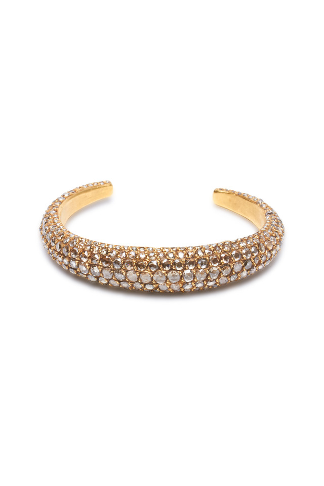 Roxanne Yellow Gold Cognac Diamond Cuff Bracelet