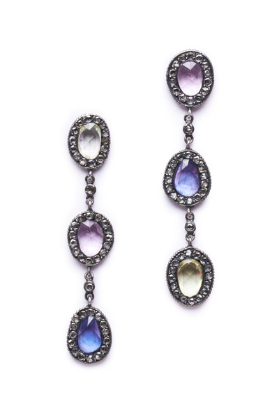 Yossi Harari - Amalia Multicolor Sapphire Diamond Dangle Earrings
